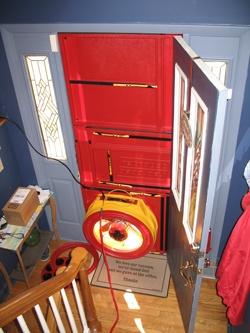 Blower door test for Appleton homes